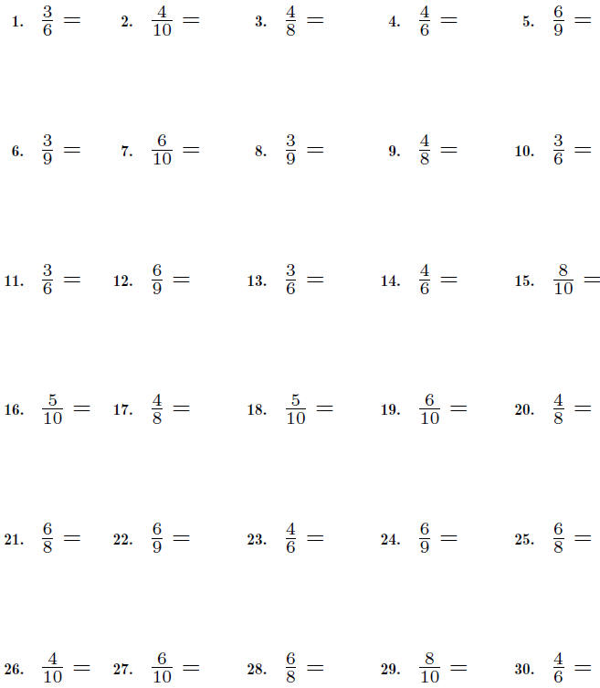 fractions worksheet reduce fractions to lowest terms