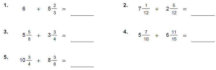 Complex Fraction Worksheet – Addition of Mixed Numbers Worksheets